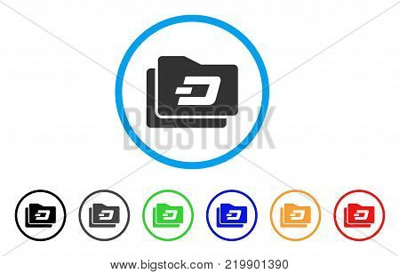 Dash Purse rounded icon. Style is a flat grey symbol inside light blue circle with additional colored versions. Dash Purse vector designed for web and software interfaces.