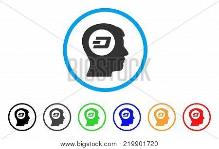 Dash Think rounded icon. Style is a flat gray symbol inside light blue circle with additional color versions. Dash Think vector designed for web and software interfaces.