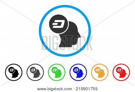 Dash Thinking Head rounded icon. Style is a flat grey symbol inside light blue circle with bonus color variants. Dash Thinking Head vector designed for web and software interfaces.