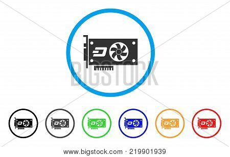 Dash Video Gpu Card rounded icon. Style is a flat gray symbol inside light blue circle with bonus colored versions. Dash Video Gpu Card vector designed for web and software interfaces.