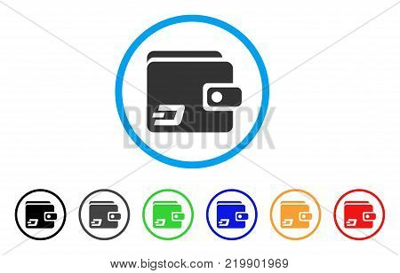 Dash Wallet rounded icon. Style is a flat grey symbol inside light blue circle with bonus color variants. Dash Wallet vector designed for web and software interfaces.