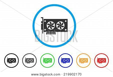 Dual Gpu Videocard rounded icon. Style is a flat gray symbol inside light blue circle with bonus colored versions. Dual Gpu Videocard vector designed for web and software interfaces.