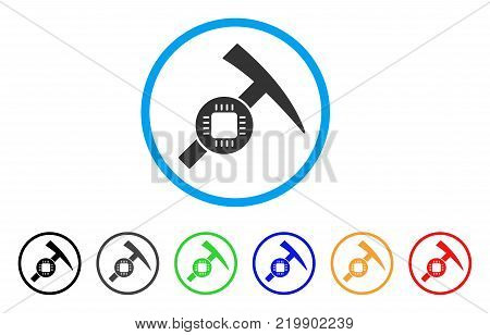 Electronic Mining Hammer rounded icon. Style is a flat gray symbol inside light blue circle with bonus colored variants. Electronic Mining Hammer vector designed for web and software interfaces.