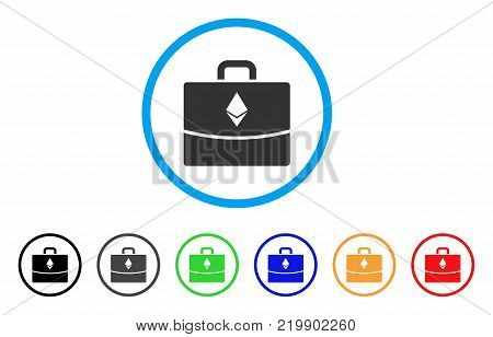 Ethereum Accounting Case rounded icon. Style is a flat gray symbol inside light blue circle with bonus colored versions. Ethereum Accounting Case vector designed for web and software interfaces.
