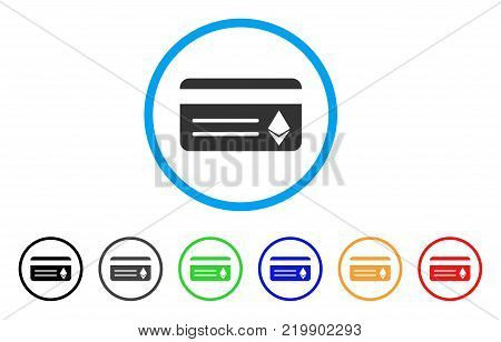 Ethereum Banking Card rounded icon. Style is a flat grey symbol inside light blue circle with bonus color versions. Ethereum Banking Card vector designed for web and software interfaces.