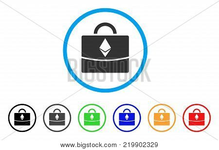 Ethereum Business Case rounded icon. Style is a flat grey symbol inside light blue circle with bonus color versions. Ethereum Business Case vector designed for web and software interfaces.