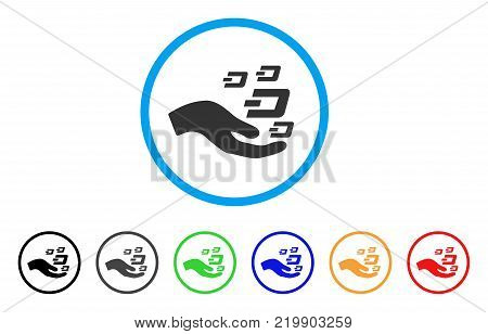 Hand Offer Dash Symbols rounded icon. Style is a flat grey symbol inside light blue circle with bonus color variants. Hand Offer Dash Symbols vector designed for web and software interfaces.