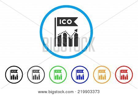 Ico Chart rounded icon. Style is a flat grey symbol inside light blue circle with additional colored versions. Ico Chart vector designed for web and software interfaces.