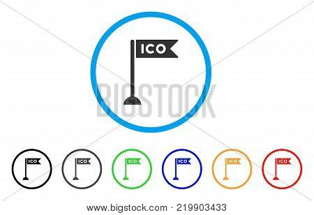 Ico Flag Marker rounded icon. Style is a flat gray symbol inside light blue circle with bonus colored variants. Ico Flag Marker vector designed for web and software interfaces.