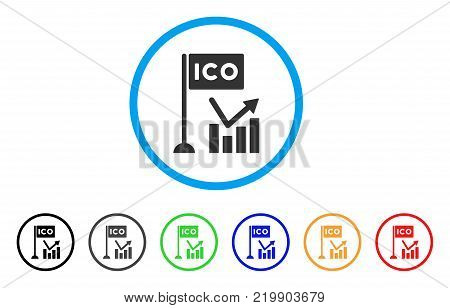 Ico Trend Chart rounded icon. Style is a flat grey symbol inside light blue circle with additional colored versions. Ico Trend Chart vector designed for web and software interfaces.