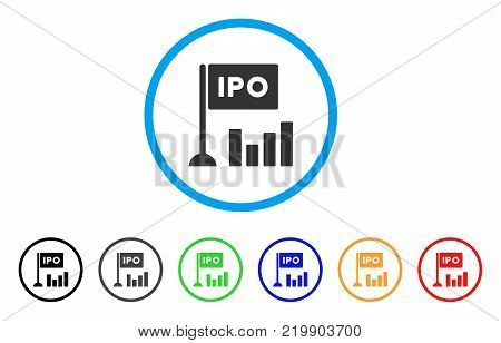 Ipo Bar Chart rounded icon. Style is a flat grey symbol inside light blue circle with additional color variants. Ipo Bar Chart vector designed for web and software interfaces.