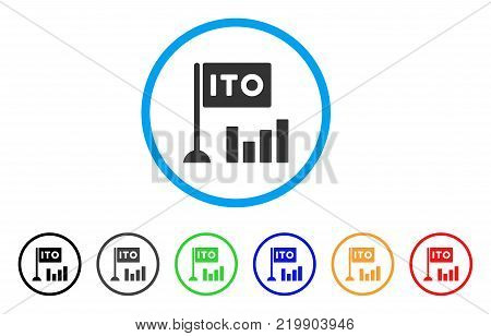 Ito Bar Chart rounded icon. Style is a flat grey symbol inside light blue circle with bonus color variants. Ito Bar Chart vector designed for web and software interfaces.