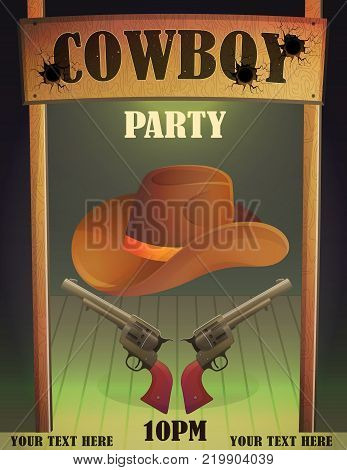 Cowboy wild west saloon bar entrance design template, antique guns and hat, bullet holes, wooden cowboy country saloon door.