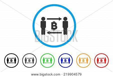 People Exchange Bitcoin rounded icon. Style is a flat grey symbol inside light blue circle with bonus colored versions. People Exchange Bitcoin vector designed for web and software interfaces.