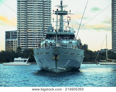 Gold Coast Australia - July 25: Warship Bundaberg visits the Gold Coast. Preparing to dock at Southport Yacht Club Marina on June 25. 2010 in Main Beach Gold Coast Queensland Australia.