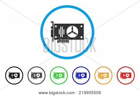 Videocard rounded icon. Style is a flat gray symbol inside light blue circle with additional colored variants. Videocard vector designed for web and software interfaces.
