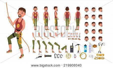 Rock Climber Male Vector. Animated Character Creation Set. Professional Mountain Climber Man. Full Length, Front, Side, Back View, Accessories, Poses, Face Emotions. Isolated Cartoon Illustration