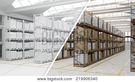 Comparison between warehouses in white and color (3D Rendering)