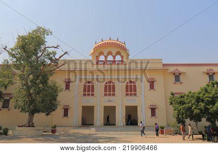 Jaipur India - October 20, 2017: Unidentified People Visit Maharaja Sawai Mansingh Museum At City Pa