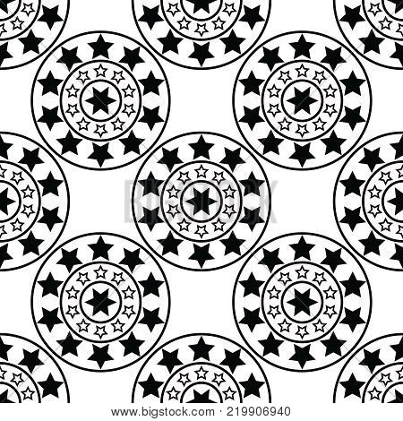 Template for creating design and decoration with stars and circles