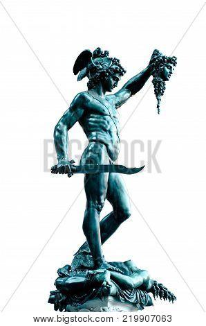 Perseus statue with the head of Medusa , in Loggia de' Lanzi, Piazza della Signoria, Florence. Sculptor Benvenuto Cellini 1545-1554