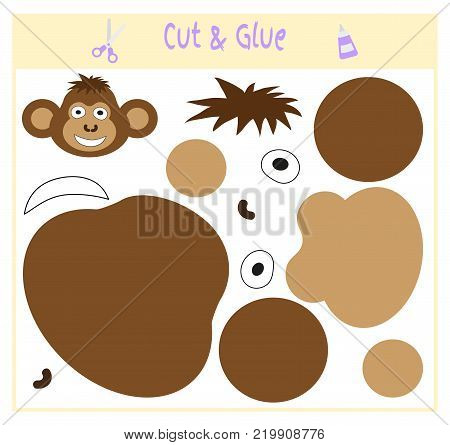Education paper game for the development of preschool children. Cut parts of the image and glue on the paper. Vector illustration. Use scissors and glue to create the applique. monkey.