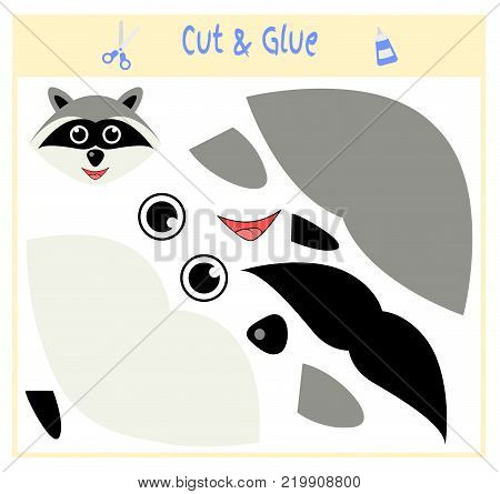Education paper game for the development of preschool children. Cut parts of the image and glue on the paper. Vector illustration. Use scissors and glue to create the applique. raccoon.