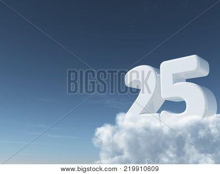 number twenty-five on clouds - 3d rendering