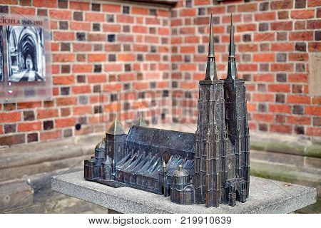 Bronze miniature of the Cathedral of St. John the Baptist in Wroclaw is the seat of the Roman Catholic Archdiocese of Wroclaw and a landmark of the city of Wroclaw in Poland