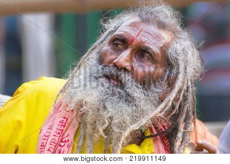 BABUGHAT KOLKATA WEST BENGAL / INDIA - 10TH JANUARY 2015 : Portrait of Hindu Sadhu with white beard.