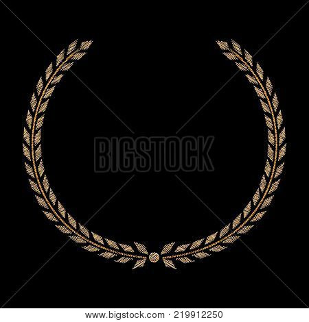Vector Golden Laurel wreath. Label winner a symbol of victory triumph and success on a black background. Embroidery on fabric. Round icon victory. Isolated. Vector illustration.
