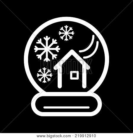 New Year's ball with a house and snow. Vector icon. Linear magic ball isolated. Outline snow globe on black background