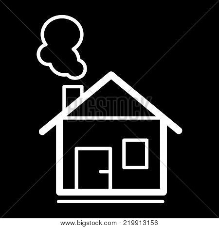 house with chimney vector line icon. House in winter. Christmas outline house.