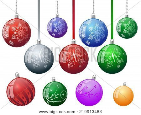 Set of colorful Christmas tree vector ornament balls with snowflake butterfly floral abstract decorative pattern with ball chain ribbon. Xmas Red blue green yellow New Year tree vector baubles ornament balls. Merry Christmas decoration toys balls