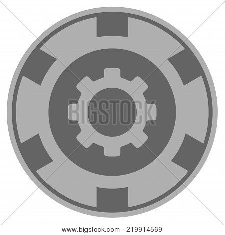 Gear silver casino chip icon. Vector style is a gray silver flat gambling token symbol.
