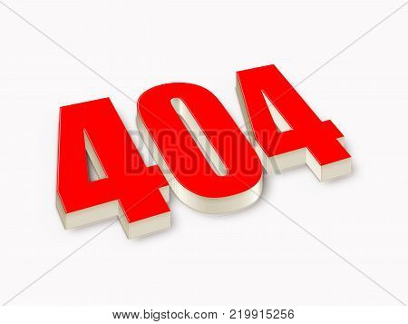 404 3D text. 404 erroe concept. Page not found. Illustration stock.
