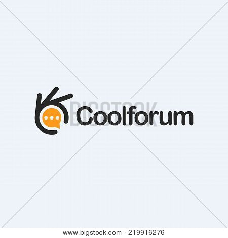 Chat icon, forum, talk, communicate illustration. Ok symbol, Okay vector logo