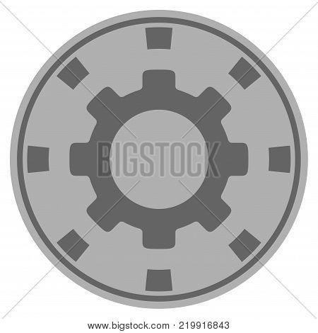 Gear grey casino chip pictogram. Vector style is a gray silver flat gamble token symbol.
