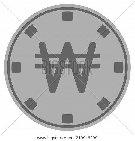 Korean Won silver casino chip pictogram. Vector style is a grey silver flat gamble token symbol.