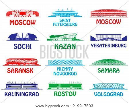 Football stadiums set. Russia 2018. silhouette of facades