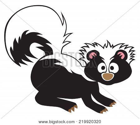 A cartoon baby skunk on alert is staring toward the viewer