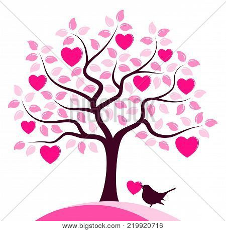 vector heart tree and bird carrying heart isolated on white background