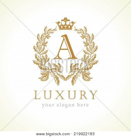 Luxury A letter and crown monogram logo. Laurel elegant beautiful round identity with crown and wreath. Vector letter emblem A for Antique, Restaurant, Boutique, Hotel, Heraldic, Jewelry