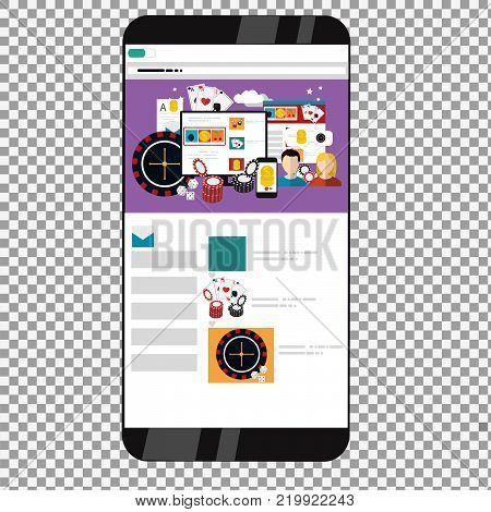 Vector Phone with online Casino flat design applications on a screen on transparent background.  Flat design banner jackpot pockie dice roulette games flat illustration. -stock vector