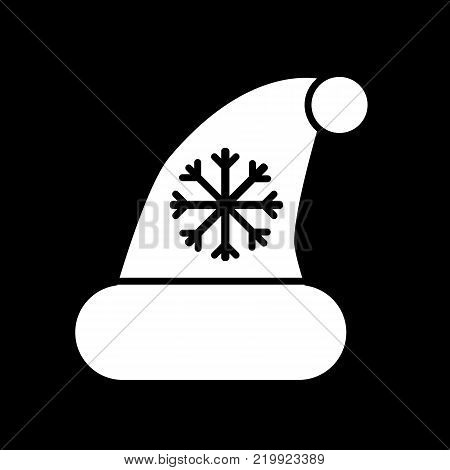 White Christmass hat with pompom and snowflake isolated on black background. Christmass accessory outline flat icon. Santa Clous hat vector illustration.
