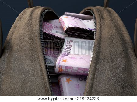 A concept depicting an open brown leather duffel bag revealing bundles of illicit rolled euro notes - 3D render