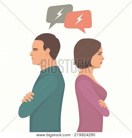 angry couple fight, parents divorce, man and woman conflict, wife and husband relationship, vector illustration