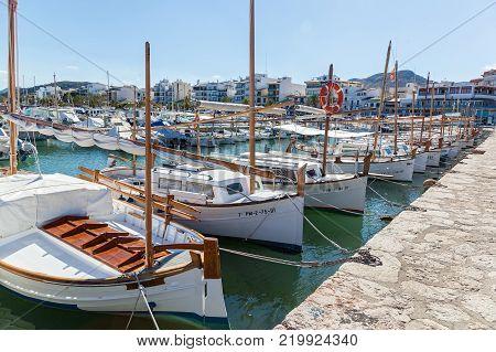 Spain Palma de Mallorca June 19, 2016 Palma de Mallorca Carrer Del Moll marina skyline with yachts. boats and yachts on palma de Mallorca