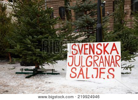 A sign written in Swedish announces that Swedish Christmas trees are for sale.