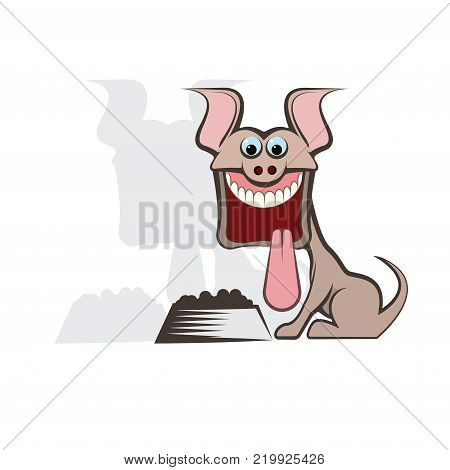 Illustration in the form of a joyful dog in front of a bowl with dog food